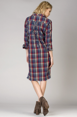 Open Road Plaid Shirt Dress - BIRD BEE - 2