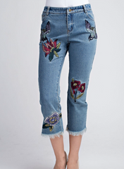 Embroidered Raw Edge Jeans - BIRD BEE - 1