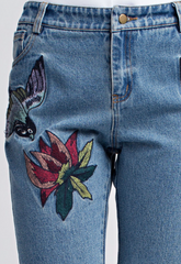 Embroidered Raw Edge Jeans - BIRD BEE - 2