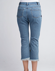 Embroidered Raw Edge Jeans - BIRD BEE - 5