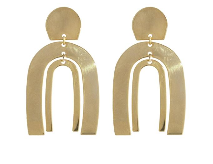 Spectrum Arc Gold Earrings