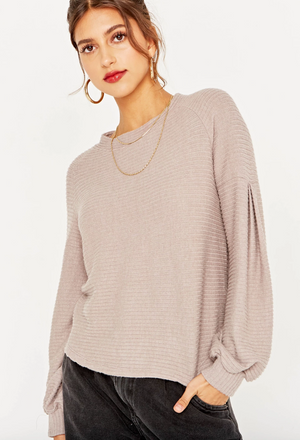 Emberly Cozy Ribbed Pleat Sleeve