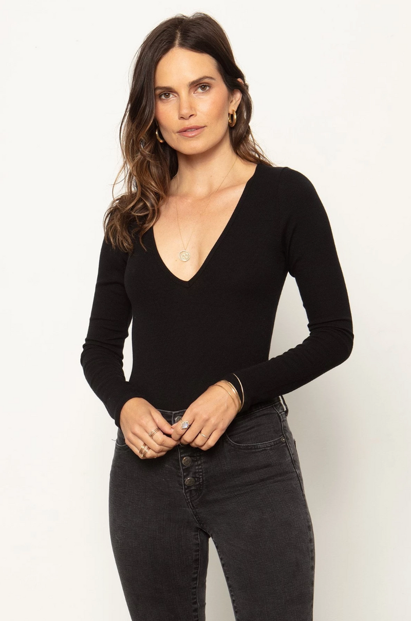 The V Neck Bodysuit - Black