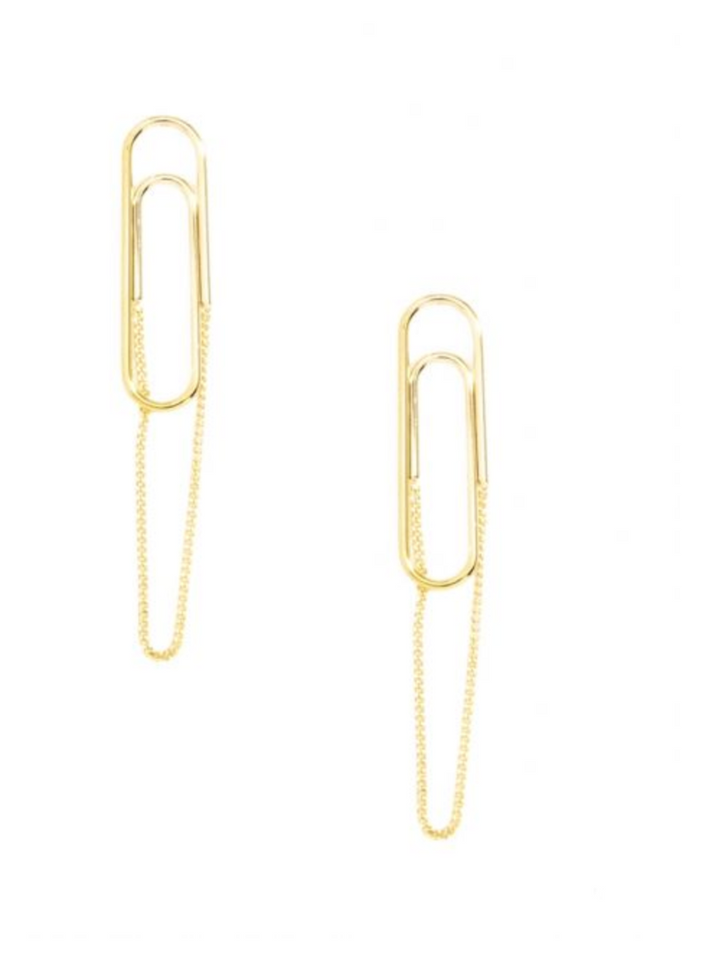 Chained Paper Clip Earring