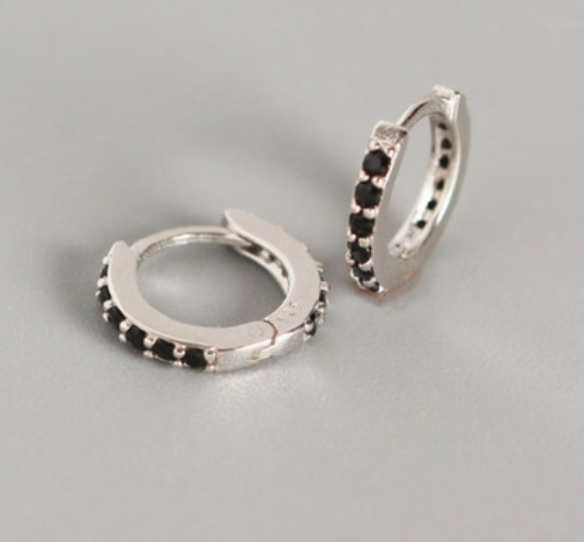 Black Zircon Circle Huggies