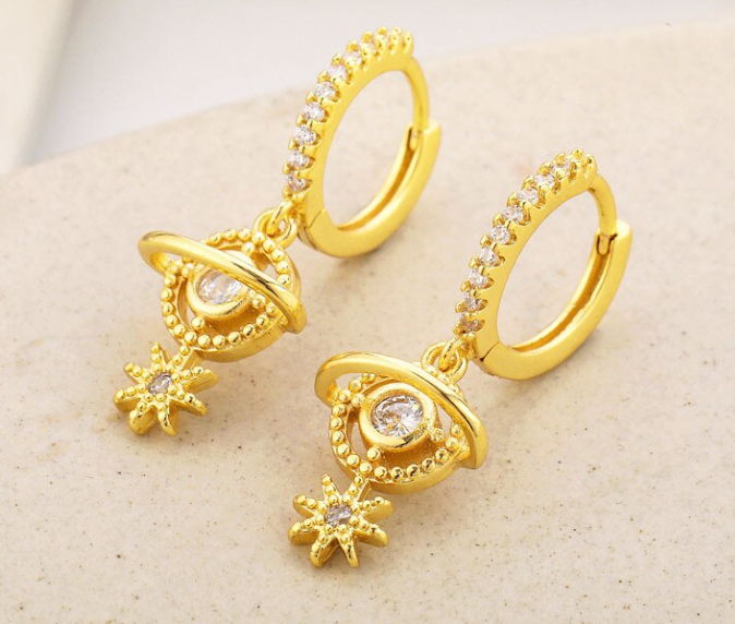 Planet Star Hoop Earrings