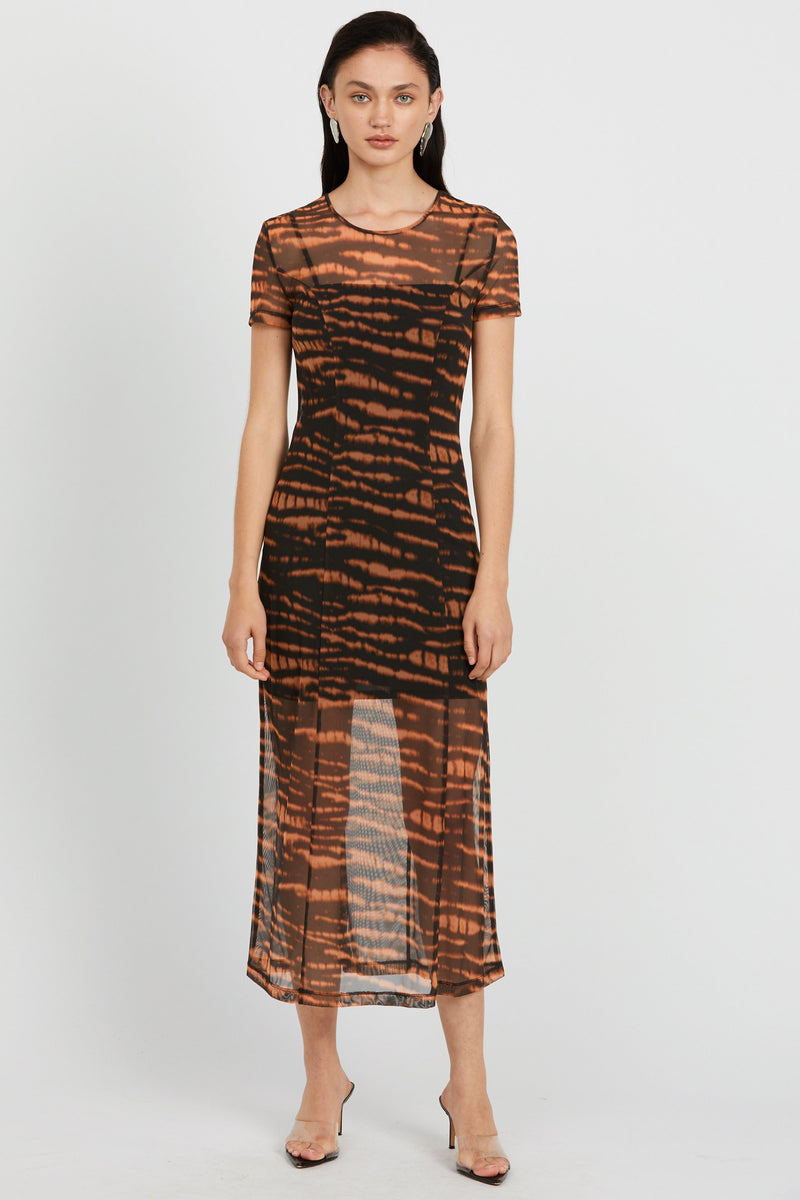 Third Form Tie-Ger Mesh Maxi Dress