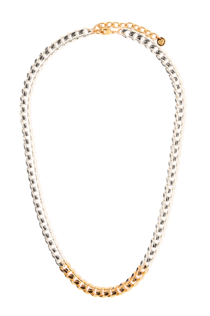 Metal Block Necklace - Silver