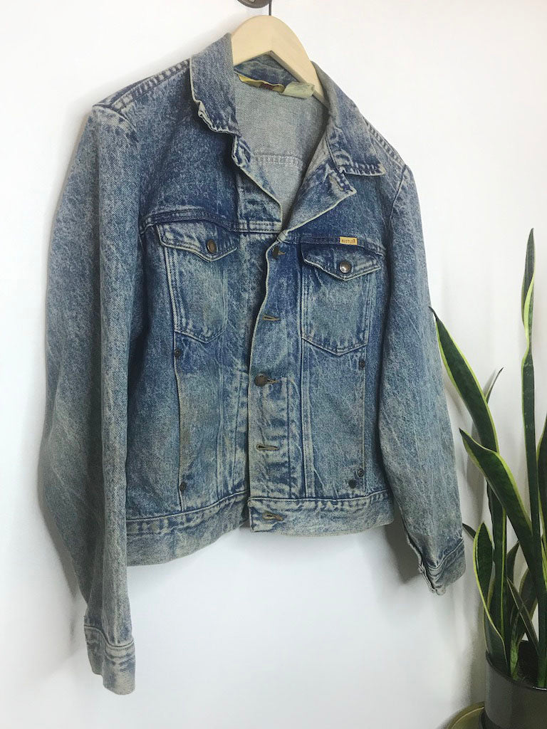 Vintage 80s Rustler Denim Jacket with Flag