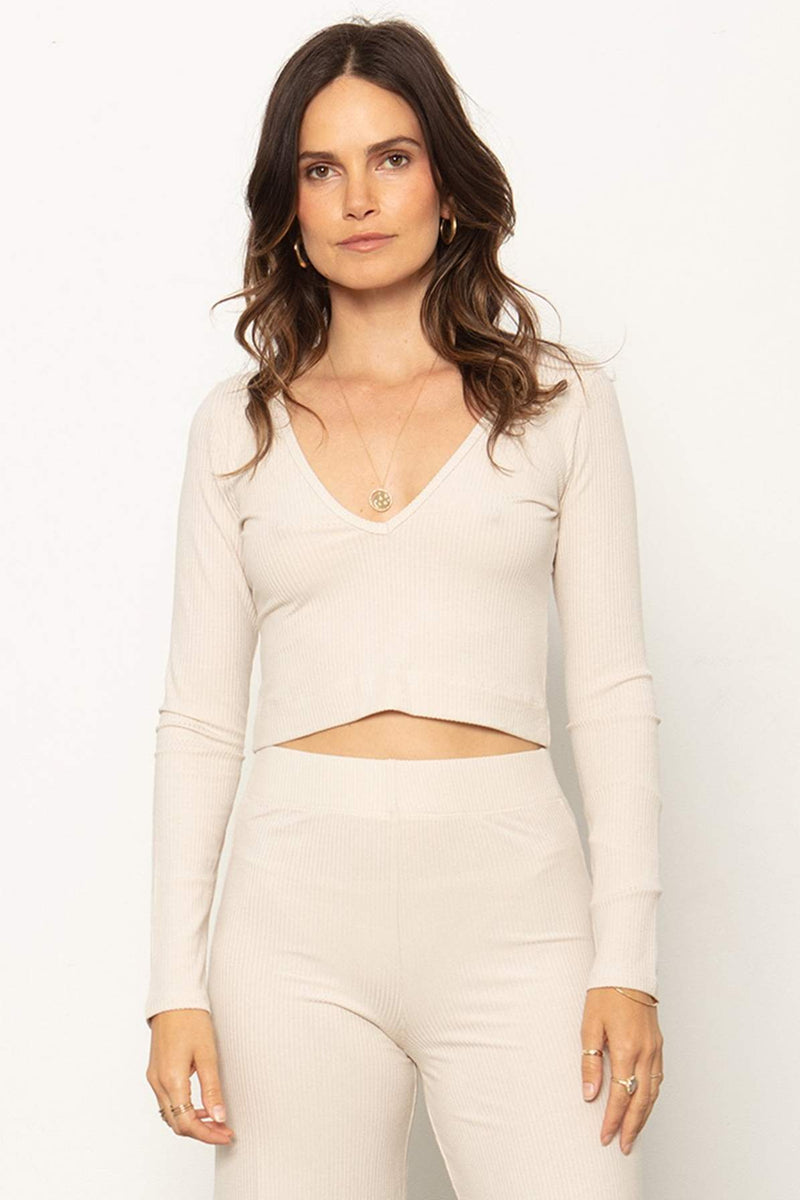 The V Neck Crop - Sandshell