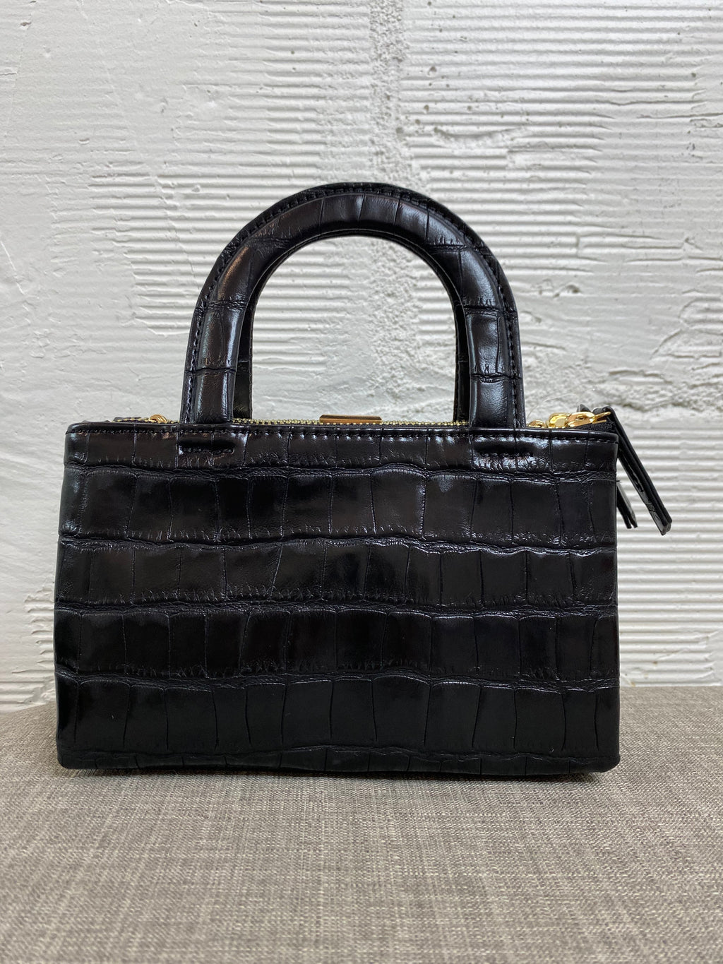 Croco Handle Bag - Black