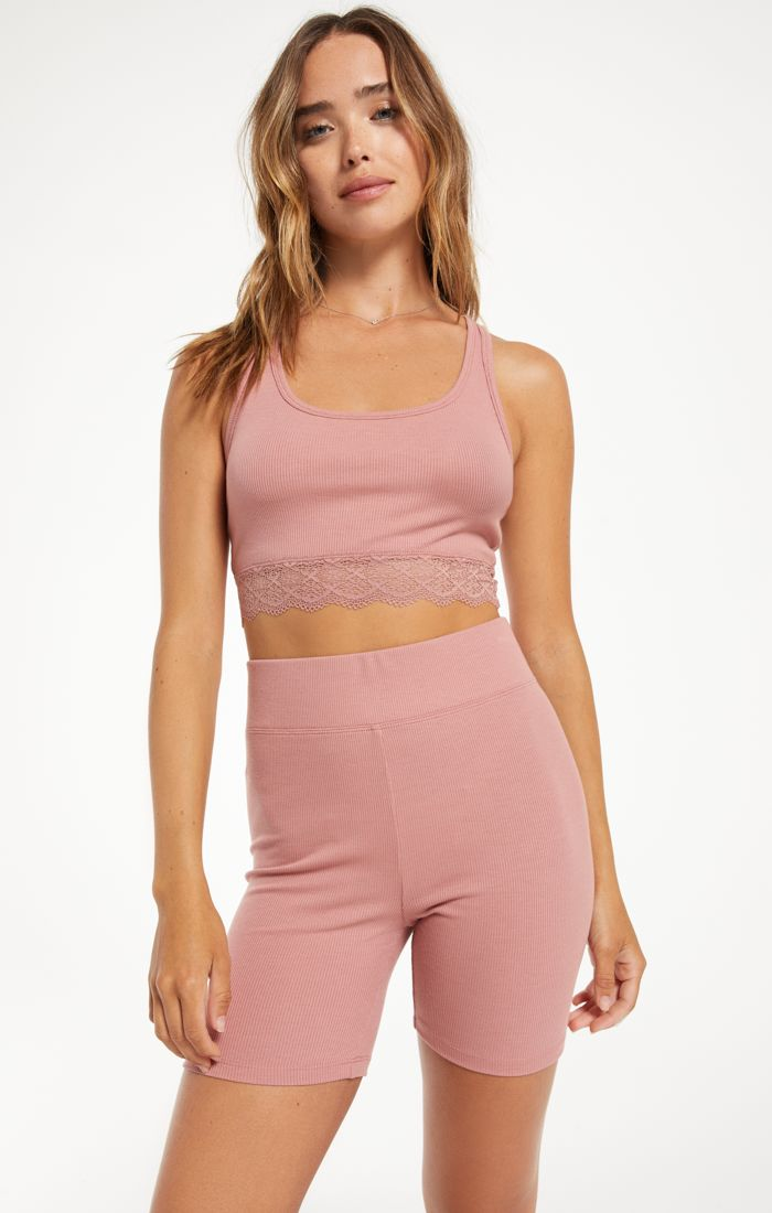 Hailey Rib Tank Bra - Rose
