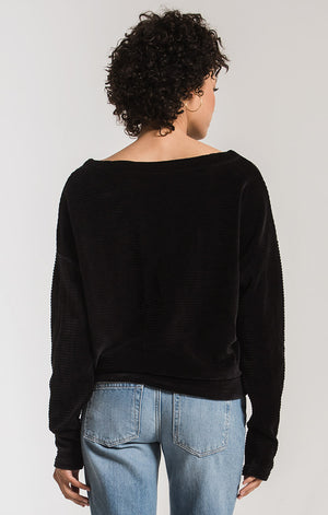 The Wide Wale Cord Top - Black