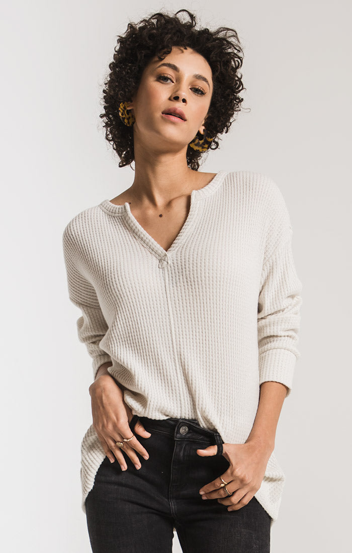 The Waffle Thermal Slip Neck Top