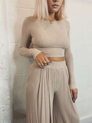 Savannah Knit Crop - Mocha