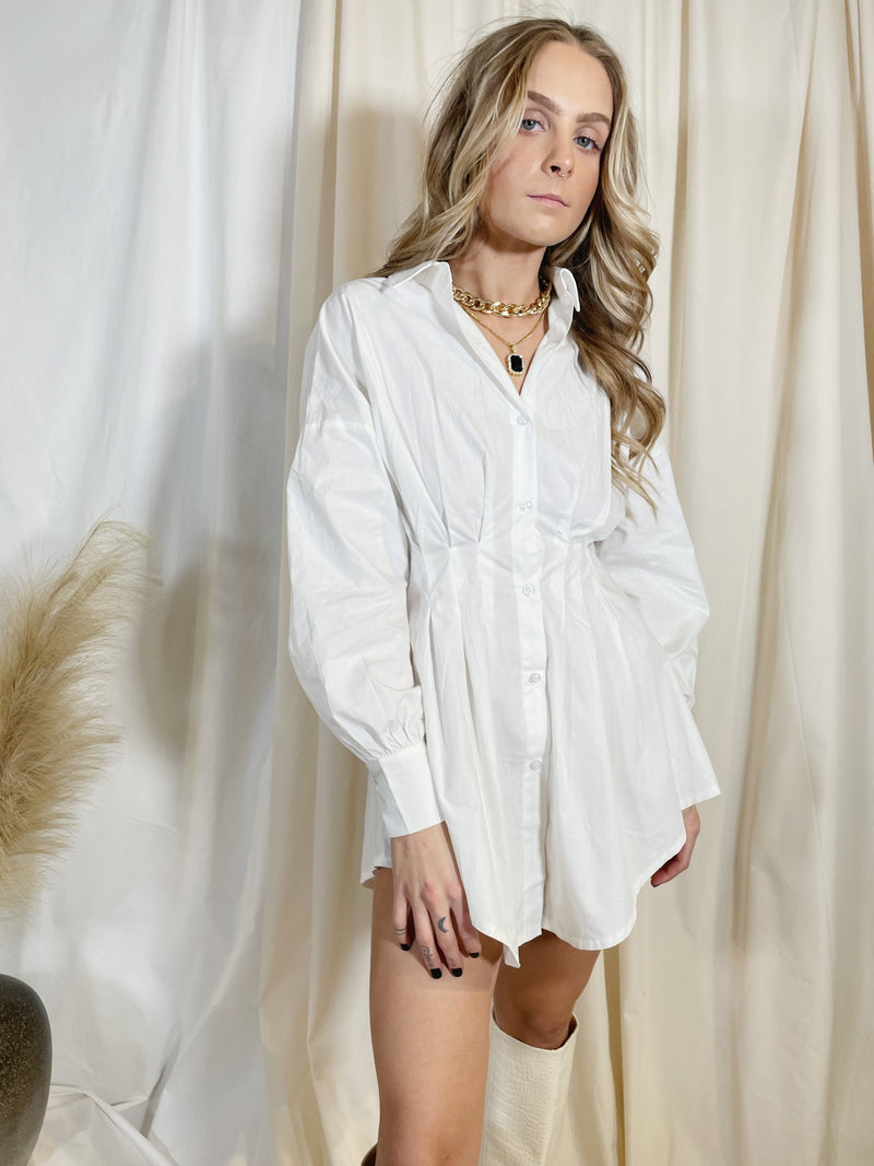 Gaia Shirt Dress - White