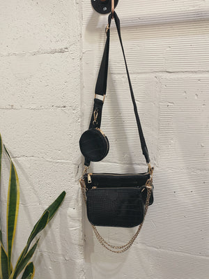 Farrah Messenger Bag - Black