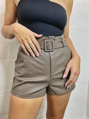 Stand Out Faux Leather Short - Mocha