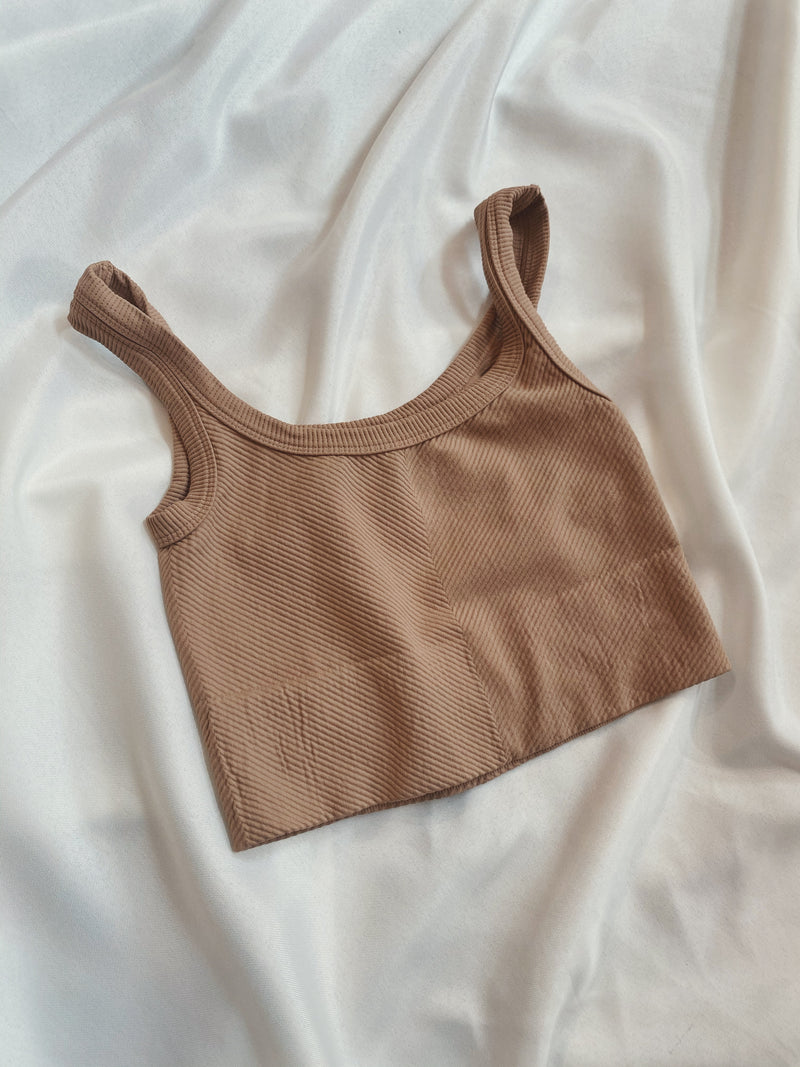 Chevron Ribbed Crop - Sand Beige
