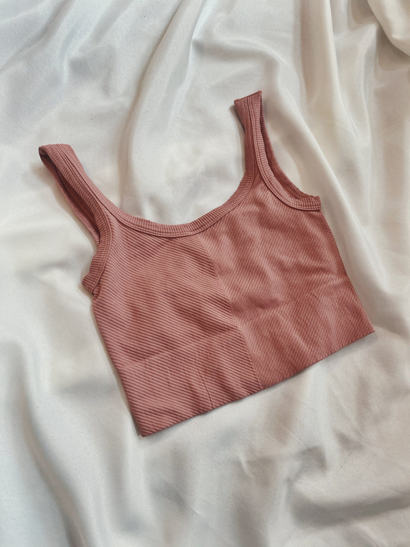 Chevron Ribbed Crop - Ash Rose