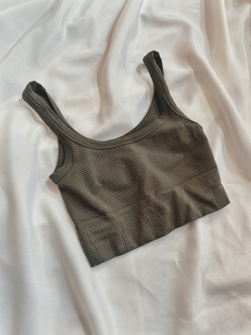 Chevron Ribbed Crop - Dusty Olive