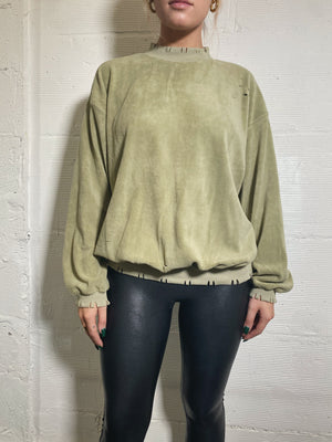 Distressed Fleece Pullover