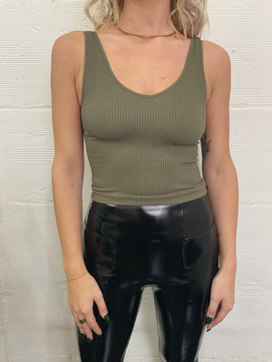 Nia Ribbed Crop - Dusty Olive