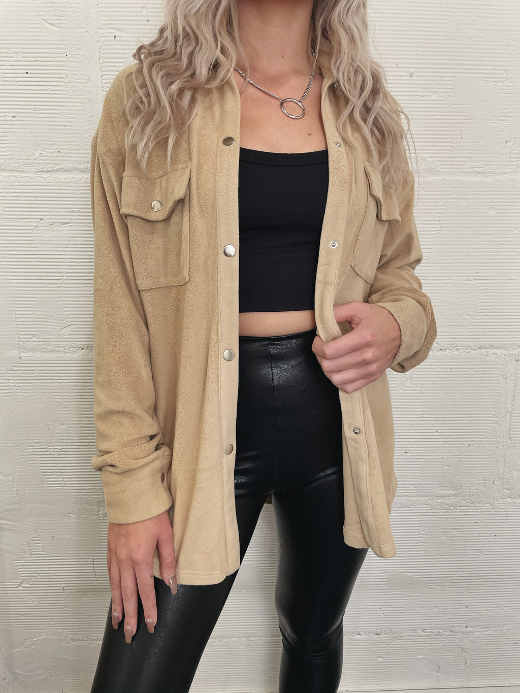 Mia Cozy Shirt Jacket - Tan