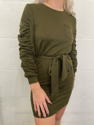 Day to Night Gathered Sleeve Dress - Army
