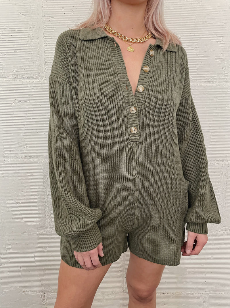 Astoria Sweater Romper - Olive