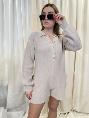 Astoria Sweater Romper - Cream