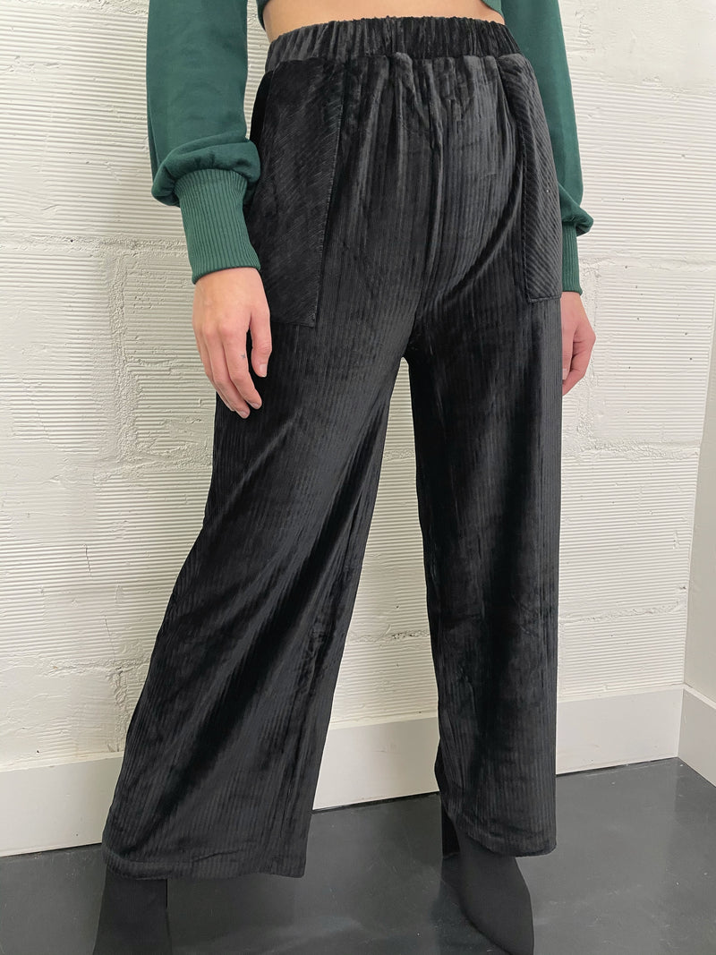 To the Night Velour Wide Leg Pant