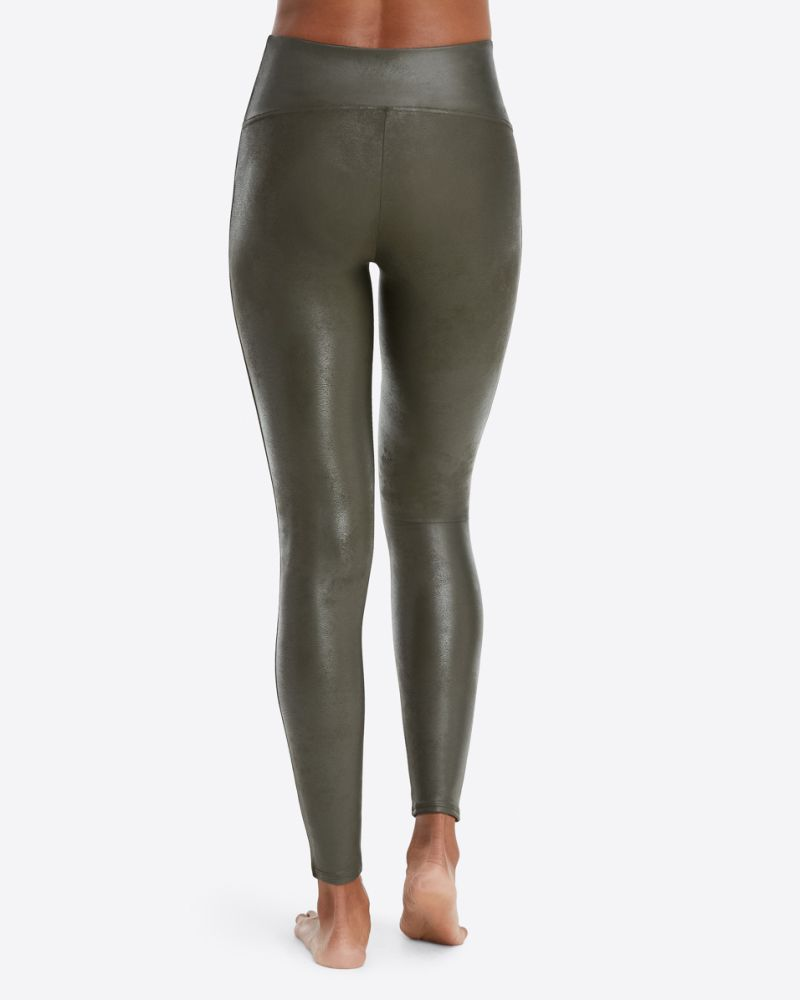 Spanx Faux Leather Leggings - Olive
