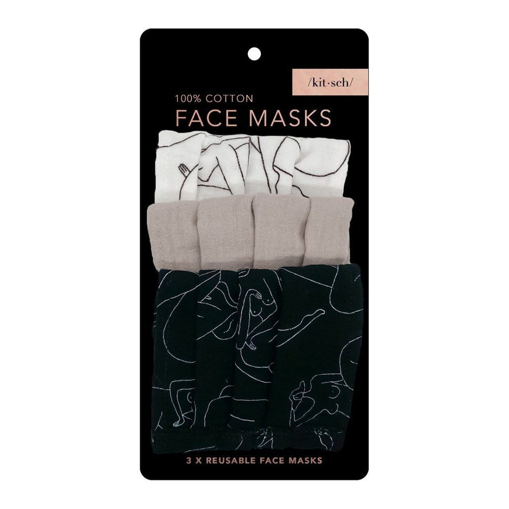 Cotton Face Mask 3pc Set - Body Figure Drawing