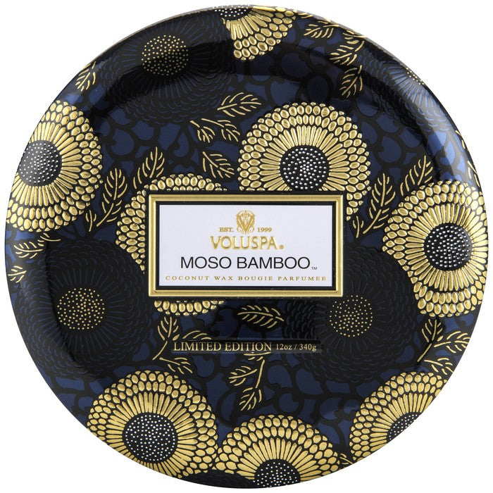 Moso Bamboo 3 wick Candle in Decorative Tin