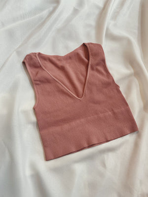 Kaye Plunge Neck Crop - Ash Rose