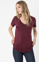 Z Supply Suede Pocket Tee - Berry - BIRD BEE - 3