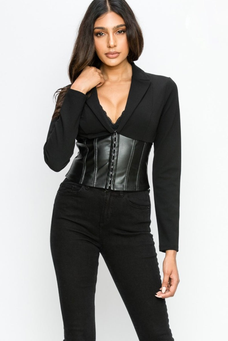 Faux Leather Corset Blazer Top