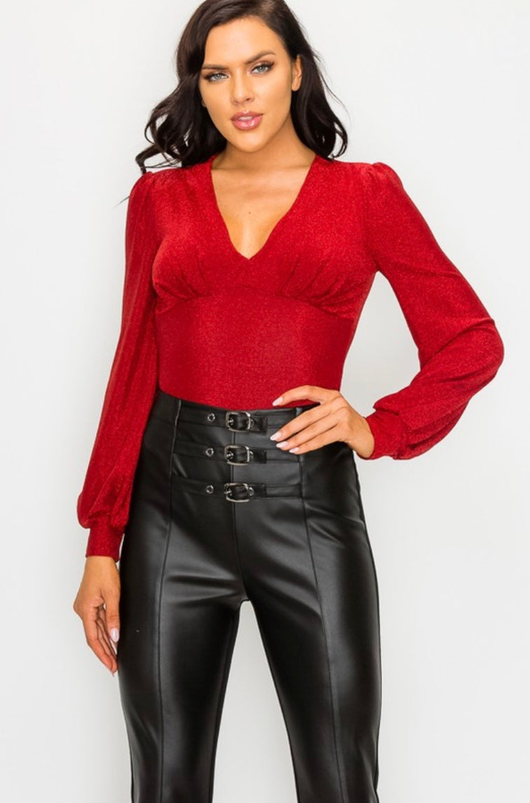 Metallic V-Neck Bodysuit - Red