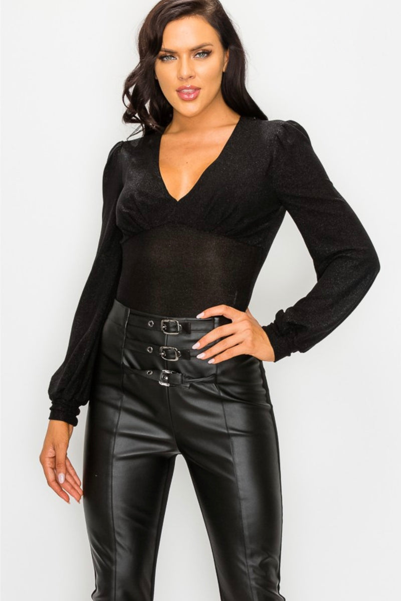 Metallic V-Neck Bodysuit - Black