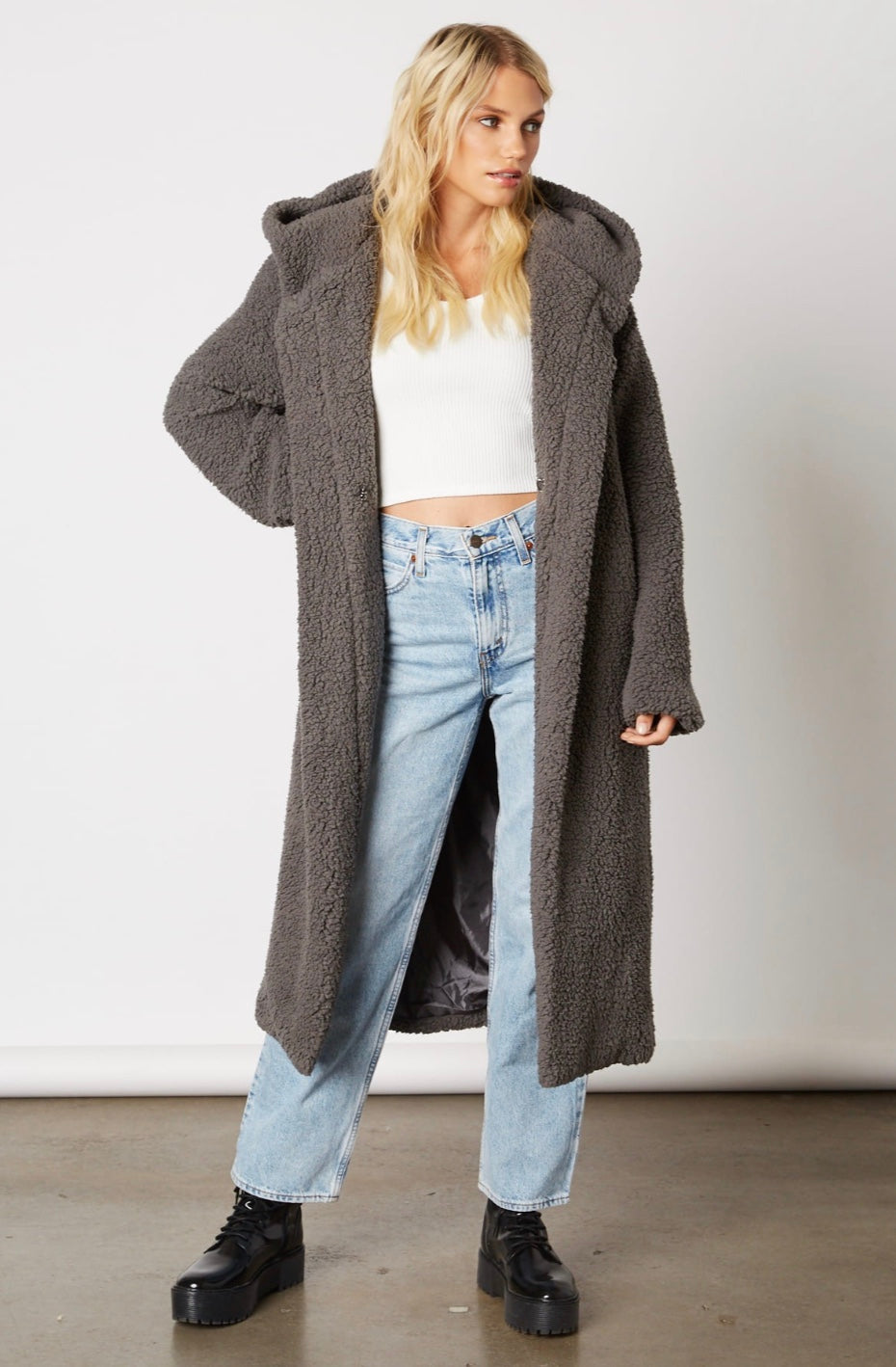 Downtown Teddy Coat - Charcoal
