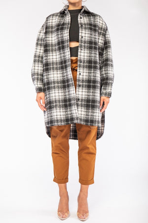 Oversized Wool Flannel Coat