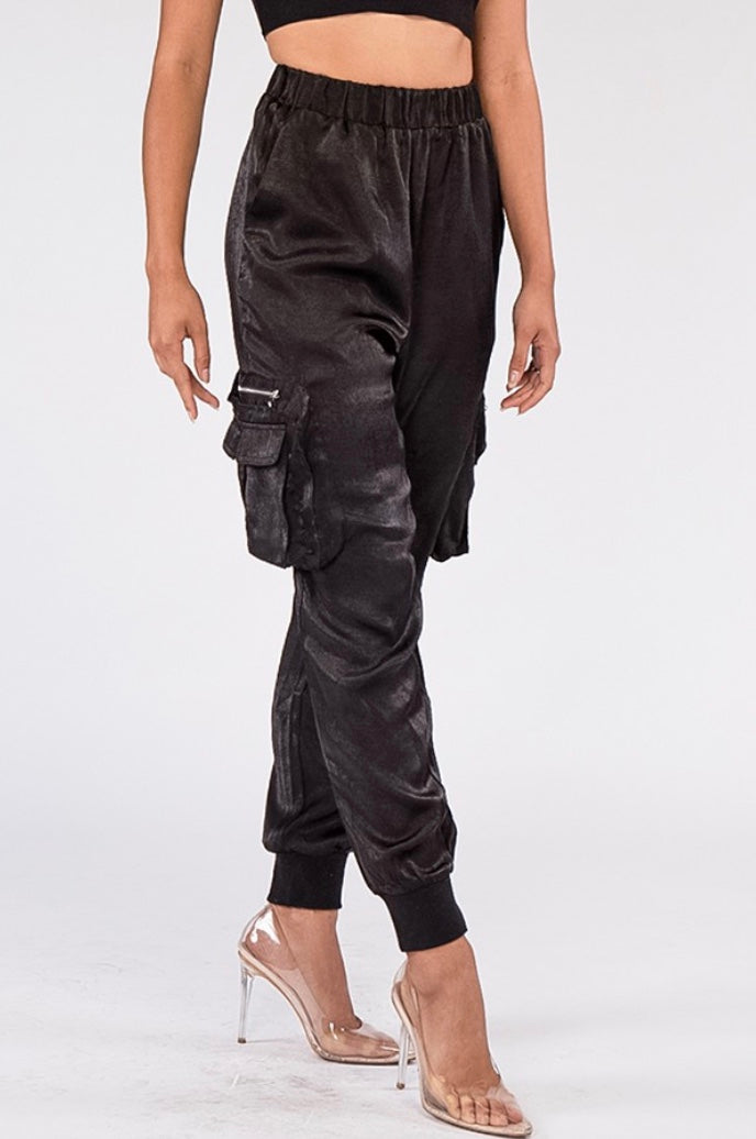 Textured Satin Jogger - Black
