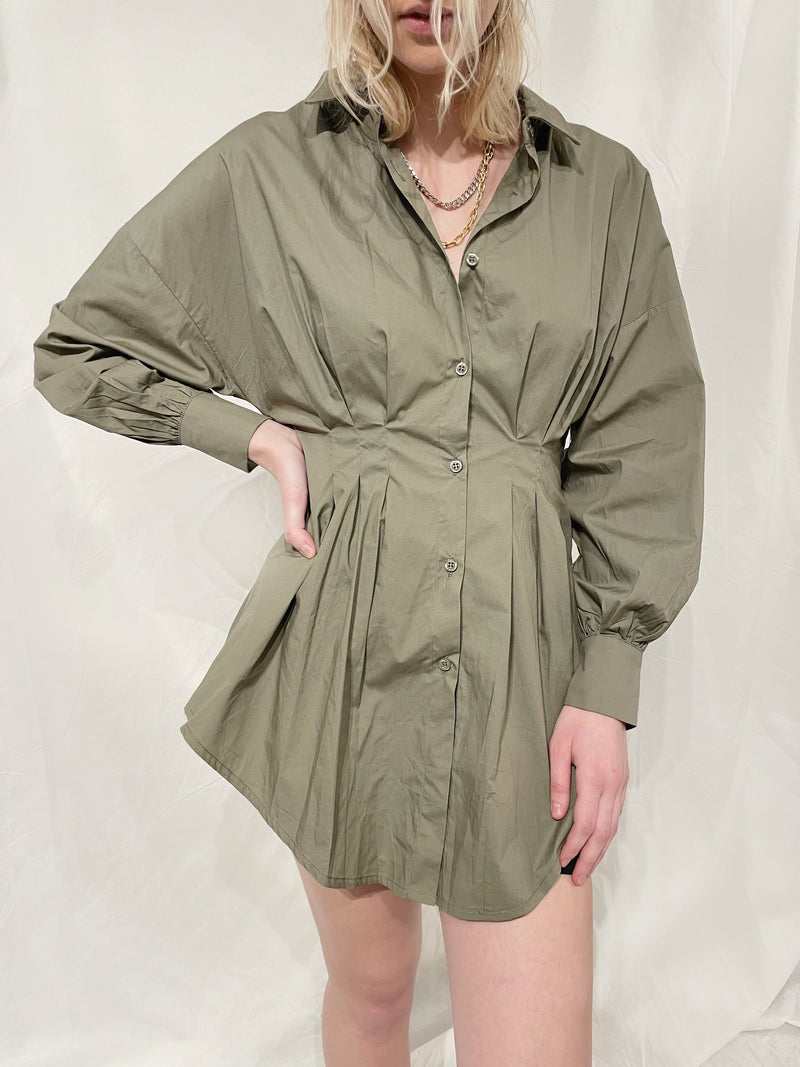 Gaia Shirt Dress - Olive