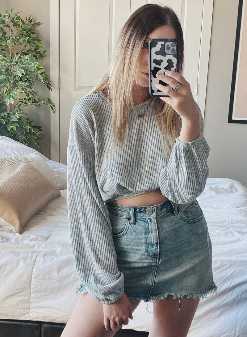 Elastic Crop Waist - Grey