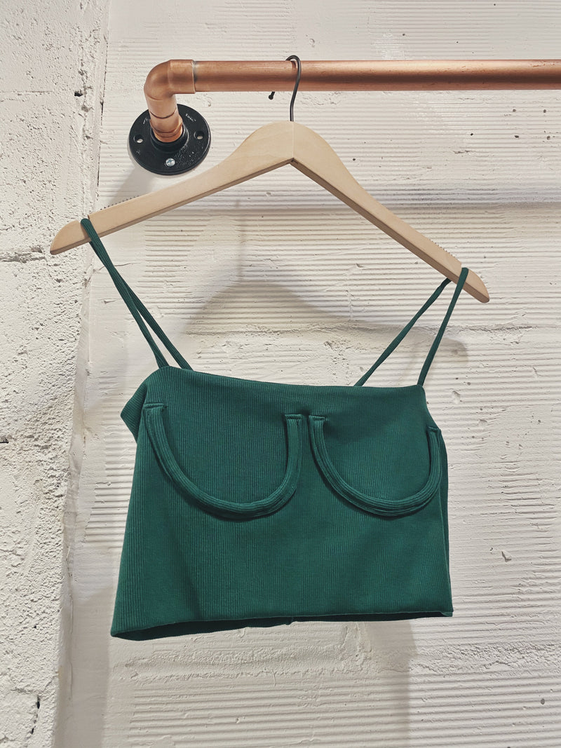 Don't Look Crop Cami - Dark Green