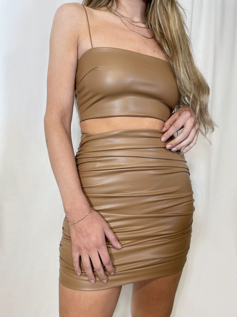 Jadore Leather Mini Skirt