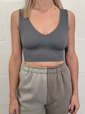 Kaye Plunge Neck Crop - Grey