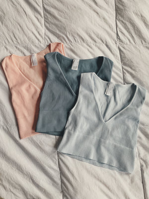 Kaye Plunge Neck Crop - Blush Peach