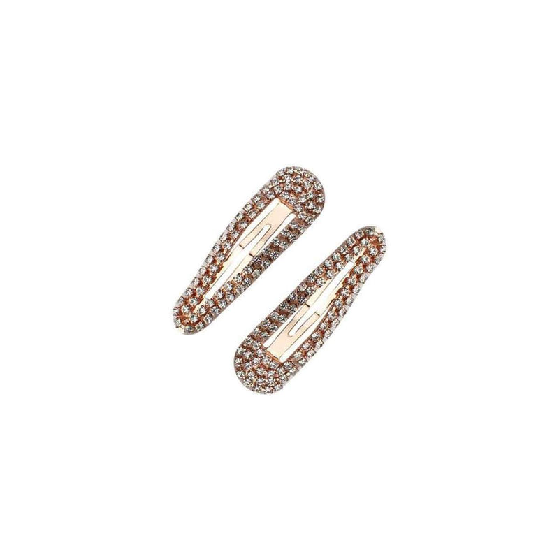 Rhinestone Snap Clips - Rose Gold